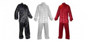 Uniformy tchaj-ťi-čchűan jsou z kvalitního saténu. Saténové obleky, wushu komplety, taiji dressy, šaty, uniformy, kalhoty a oděvy na Tchaj-ťi (Taiji, Taichi, Tajči) v různých barvách.