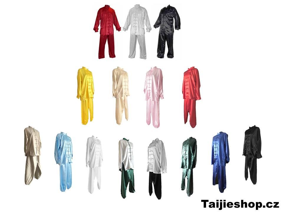 tradiční čínské saténové obleky a bavlněné uniformy na cvičení tchaj-ťi (taiji, tai chi, tajči) ve všech velikostech a rozměrech. Uniformy tchaj-ťi