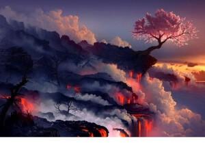 /data/www/taiji chenstyle cz/www/wp content/uploads/2020/11/Landscapes Cherry Blossoms Trees Sea Lava Smoke Rocks Scenery Landscape Fabric Silk Poster Print Home Decoration 640x640